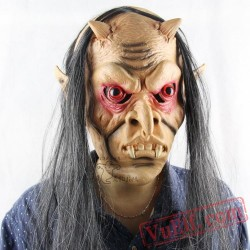 Long Hair Red Eye Demon Halloween Masks