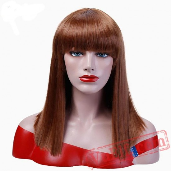 Straight Hair Bangs Blonde Wigs Women Cosplay Party Halloween Wig