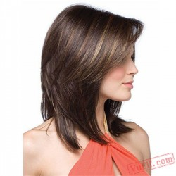 Mid-Length Brown Straight Wigs for Women