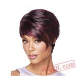 Short Curly Black & Purple Wigs for Women