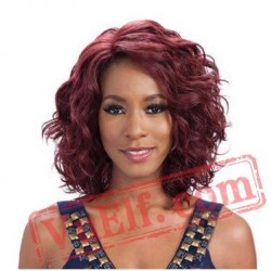 Curly Side Parting Mid Length Purple Wigs for Women