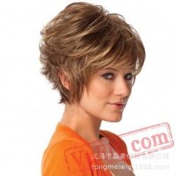 Short Puffy Blonde Curly Wigs for Women