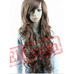 Long Curly Puffy Brown Wigs for Women