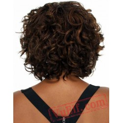 Brown Puffy Short Curly Wigs for Women