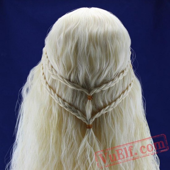 Daenerys Targaryen Light Gold Long Braided Wigs for Women