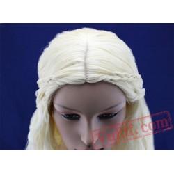 Daenerys Targaryen Light Gold Long Braided Wigs for Women