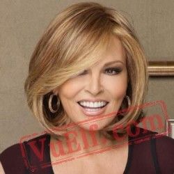 Mid Length Puffy Brown Blonde Wigs for Women