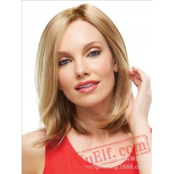 Mid Parting Mid Length Blonde Wigs for Women