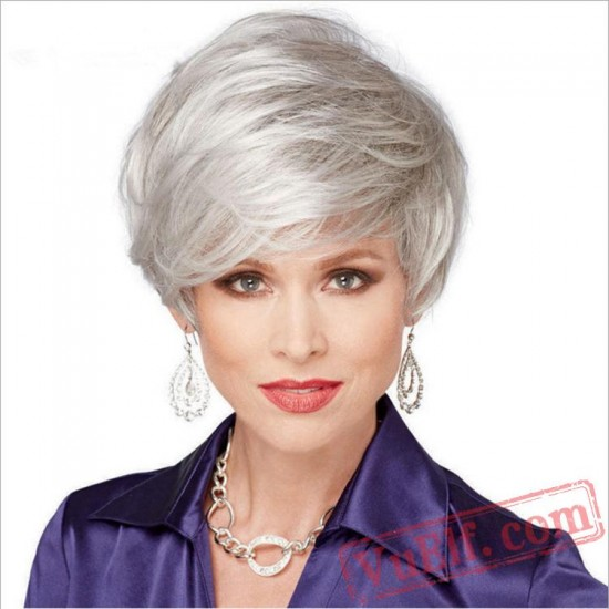Short Puffy Curly Sliver Wigs for Women