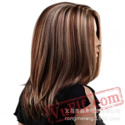 Brown & White Mid Length Wigs for Women