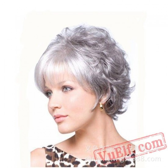 Short Sliver Curly Wigs for Women