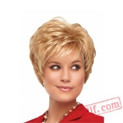 Short Curly Golden Wigs for Women