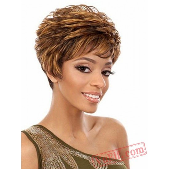 Yellow Short Curly Wigs for Women