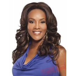 Long Curly Puffy Black & Brown Wigs for Women