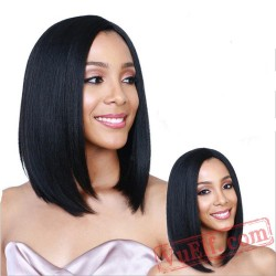 Long Black Mid Parting Wigs for Women