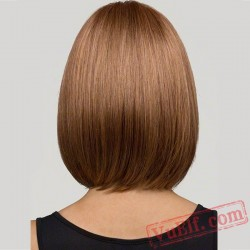 Mid Length Brown Straight BOBO Wigs for Women