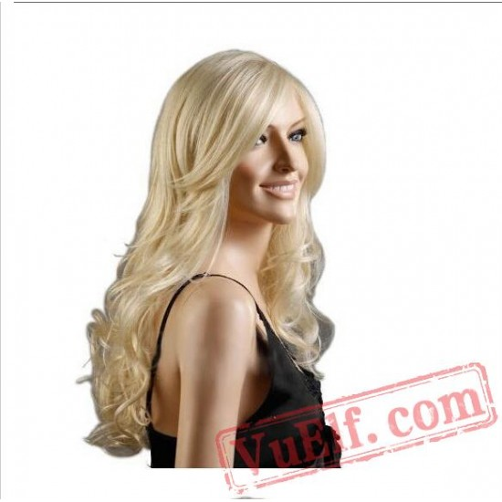 Long Curly Blonde Wigs for Women