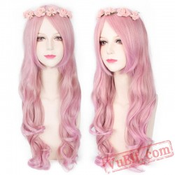 Long Curly Pink Wigs for Women