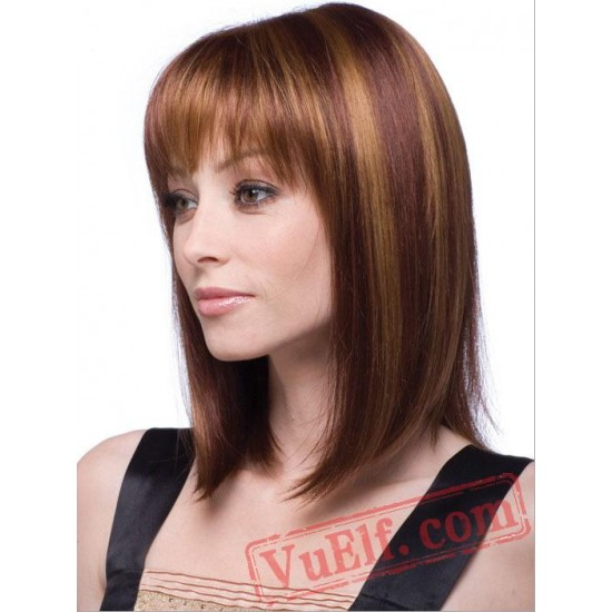 Puffy Mid Length Brown Wigs for Women