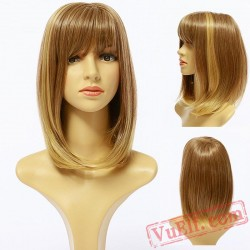 Golden Straight Short Wigs for Women