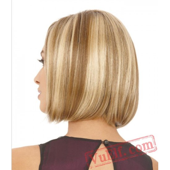 Mid Parting Brown Blonde BOBO Wigs for Women