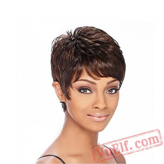 Black & Brown Short Mild Curly Wigs for Women