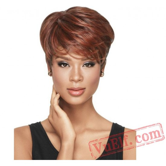 Red Puffy Short Curly Wigs for Women