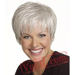 Short Puffy Curly White Wigs for Women