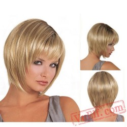Puffy Mid Parting Blonde Short Wigs for Women