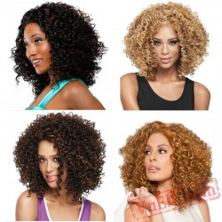 Mid Length Puffy Black & Brown Curly Wigs for Women
