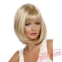 Mid Parting Puffy Blonde Short Wigs for Women