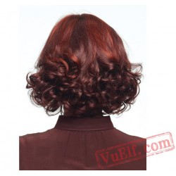 Mid Length Curly Purple Wigs for Women