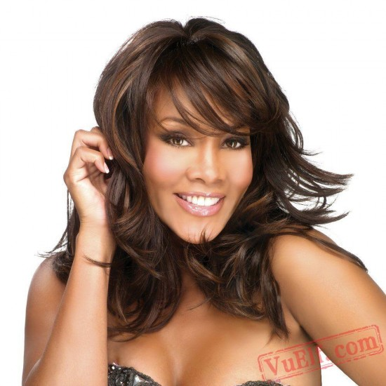 Black & Brown Puffy Long  Curly Wigs for Women