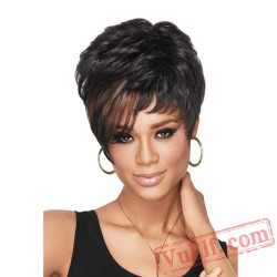 Short Puffy Black Curly Wigs for Women