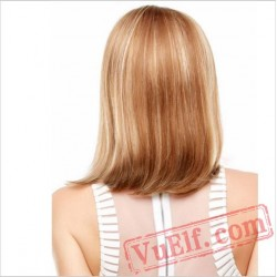 Mid Length Side Parting Blonde Wigs for Women