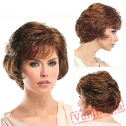 Short Puffy Brown Curly Wigs for Women