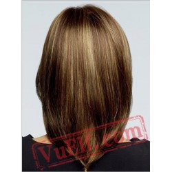 Mid Length Straight Brown Blonde Wigs for Women