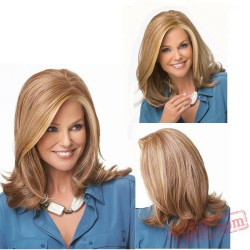 Curly Mid Length Brown Wigs for Women