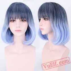 Mid-Length Curly Blue & Black Cosplay Wigs for Women