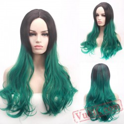 Green Long Curly Cosplay Wigs for Women