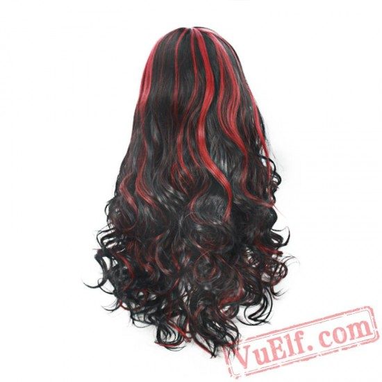 Black & Red Long Curly Wigs for Women