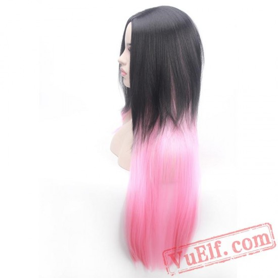 Colored Long Black Wigs for Women