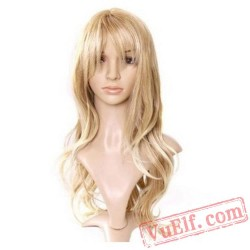 Long Curly Light Gold Puffy Wigs for Women