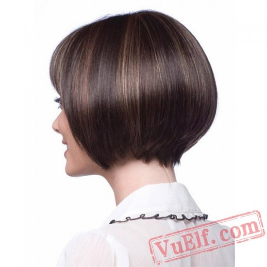 Black & Brown Short Wigs for Women