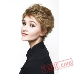 Gold Short Straight Cosplay Wigs for Women