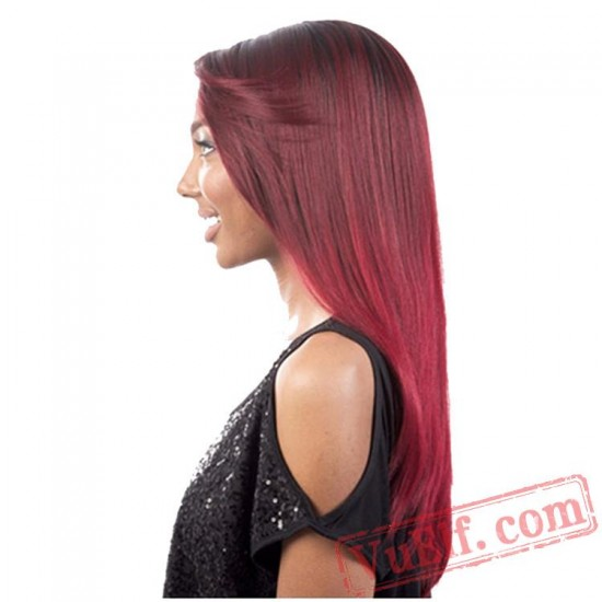 Red Long Curly Puffy Wigs for Women