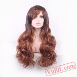 Black & Brown Long Curly Wigs for Women
