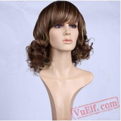 Short Curly Brown & Gold Wigs for Women