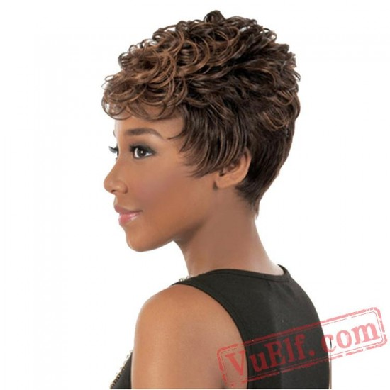 Gold Short Puffy Wigs for Women