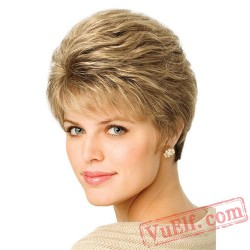 Gold Short Curly Fahion Wigs for Women